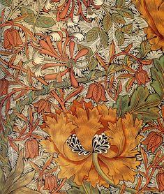 Honeysuckle, by William Morris, I just LOVE William Morris textiles! William Morris Patterns, William Morris Art, Art Nouveau Pintura, Edward Burne Jones, Morris Wallpapers, Art And Craft Design, Pre Raphaelite, Motif Floral, Arts And Crafts Movement