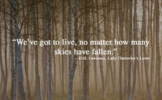 """We've got to live, no matter how many skies have fallen."" - D.H. Lawrence in LADY CHATTERLY'S LOVER via 32 Beautiful Book Quotes To Read When You're Feeling Lost"