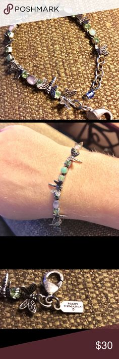 Mary Demarco dragon fly bracelet! Discounted! 😍 Dragon fly bracelet made by Artist Mary Demarco. Made from pewter with a antique look and with light green and lavender gems, with green rhinestones. mary demarco Jewelry Bracelets