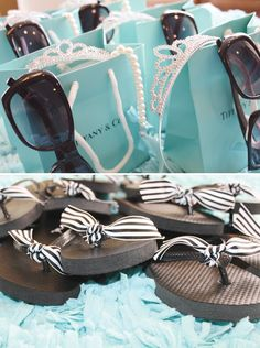 What a cute idea for a little girls party... Tiffany themed Glam party.. cute idea for hand outs with sunglasses and crowns