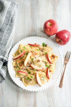 Raviolis with Apples and Walnuts Recipe | Raviolis with Apples and Walnuts Recipe is a family favorite and crowd-pleaser that you can toss together easily on a weeknight with raviolis, apples, walnuts, chicken, garlic, and parsley!