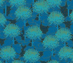 Cloisonné Chrysanthemums - Kingfisher Blue fabric by ceciliamok on Spoonflower - custom fabric
