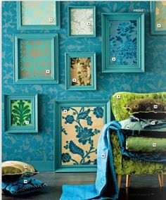 maybe like paint the frames and put different fabrics in it to make white walls less bland