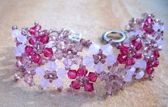 Mauve swarovski flower bracelet | Flickr - Photo Sharing!
