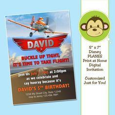 Personalized Print at Home Custom Disney PLANES Dusty Digital Invitation