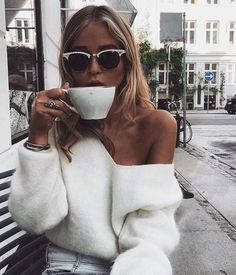 white sweater sunnies coffee outfit inspo