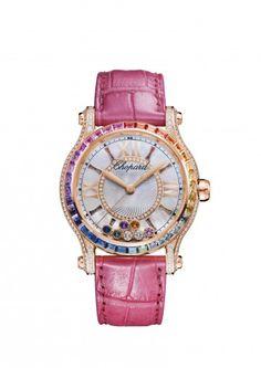 Chopard Uhr Happy Sport 36 MM Automatic Uhr 18 Karat Roségold, farbige Steine und Diamanten