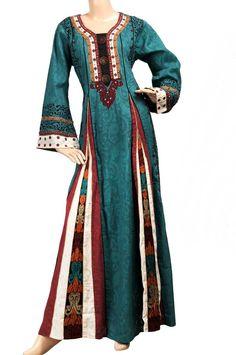 aljalabiya.com: Cotton and jacquard abaya with print and embroidery (N-13426-11) $119.00