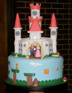 Awesome Mario & Peach cake complete with castle!