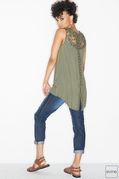 8ad9ae767a8d6 Stretch Knit Sleeveless Crochet Lace-up Hi-Lo Top on sale at evine.com