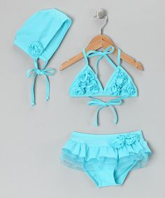 Take a look at this Aqua Rosette Skirted Bikini Set - Toddler & Girls by POP Couture on #zulily today!