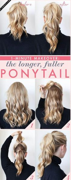 Double ponytail. Cute Idea to give hair length. Wonder if it looks weird from the side?