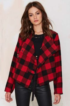 Bloody Hell Plaid Drape Jacket