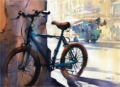 Cycle - Shadows - Rome by Thomas W. Schaller Watercolor ~ 15 inches x 22 inches