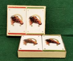 Playing Cards No. 286 Case 2 Decks Thoroughbreds W.P.Co Horse Horseshoe Racing