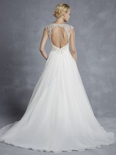 Enzoani Blue Halifax - Picture-perfect romance and femininity are epitomized in this tulle A-line gown complete with a soft sweetheart neckline, ruched tulle bodice, and beaded appliqués accentuating the waist. Beaded cap sleeves and a keyhole back provide the ultimate touches of elegance.   - $Call or visit store for price