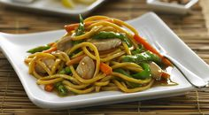 Healthy, quick meals. Hokkien noodles with tofu or chicken, honey & soy