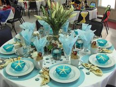 Ocean Sea Tablescapes:  A sea-themed tablescape.