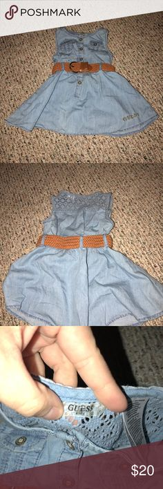 Girls Denim Guess Dress Size 3T In perfect condition   My apologizes if item looks wrinkled. I got to the bottom of the tote & noticed how wrinkled things are. If you'd like additional pictures please let me know 😊  *From a Clean Pet Free and Smoke Free home!😄 *Open to reasonable offers 🤗 *If you have any questions please ask!  💵🛒💵🛍💸Happy Poshing🎁💳❤️💰🎀 Guess Dresses