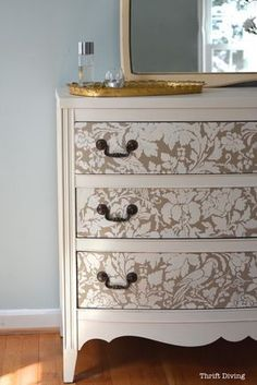 How to Paint a Dresser - Thirft Store Furniture makeover - Use Furniture Stencils for Painted Furniture DIY Projects - French Floral Damask Stencils by Royal Design Studio(Diy Furniture Baby) Refurbished Furniture, Repurposed Furniture, Shabby Chic Furniture, Cool Furniture, Furniture Design, Furniture Stencil, Furniture Stores, Stencil Dresser, Wooden Furniture