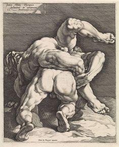 Jan Harmensz. Muller | Twee worstelaars, Jan Harmensz. Muller, Pieter de Reyger, 1600 - 1699 |