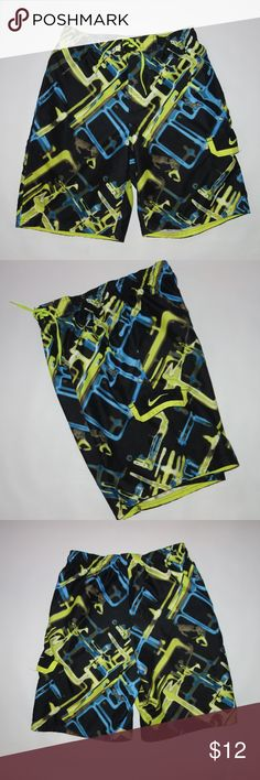 """Nike Board Shorts Swim Trunk Men S Abstract Print Nike Board Shorts Swim Trunk Men S Abstract Print B66 Preowned in great condition Elastic and drawstring waist fully lined with a mesh lining Cargo style pocket on the side Waist measures 28"""" Length is 21"""" Inseam is 10"""" No rips, tears or stains I have other items like this listed Thank you for looking! Nike Swim Board Shorts"""