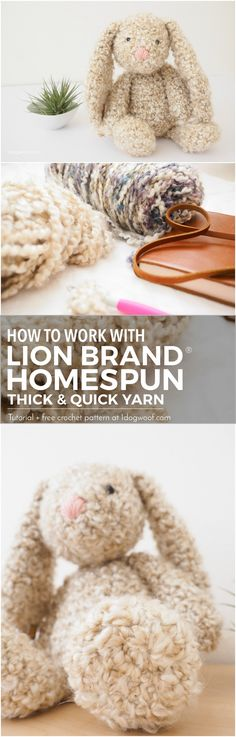Learn how to work with Lion Brand Homespun Thick & Quick, a bulky, curly yarn that's perfect for making this classic stuffed bunny rabbit!