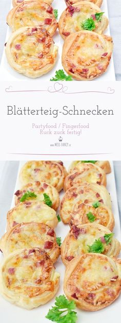 Lightning recipe: puff pastry snails- Blitzrezept: Blätterteig-Schnecken Recipe of delicious and very simple puff pastry snails with ham and cheese filling as finger food. Snacks Für Party, Easy Snacks, Appetizer Recipes, Appetizers, Creme Fraiche, Puff Pastry Recipes, Puff Recipe, Filling Recipe, Everyday Food