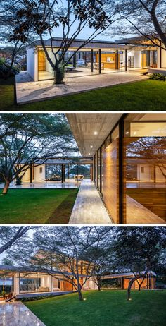 Architecture House Landscape The interiors of this modern house open to a courtyard that showcases the natural topography and the original Algarrobos trees that were on the site. Natural Homes, Natural Home Decor, L Shaped House, Contemporary Home Decor, Contemporary Houses, Contemporary Design, Modern House Design, Modern Glass House, Glass House Design