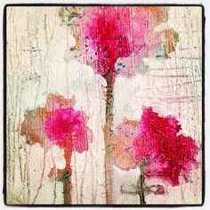 abstract, textural flower painting by melissa averinos