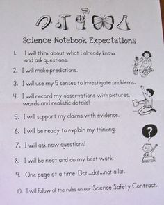 Free science notebook expectations and scientist safety sheet. Free notebook label too