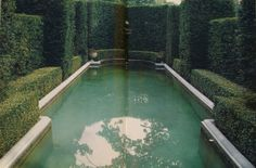 Pool enclosed by hedges, France