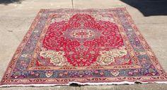 Vintage Geometric Flowers Persian Oriental Area Iran Rug Wool 6'x 10'  #Persian #TraditionalPersianOriental