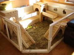 carpet or seagrass rug instead of hay though just add a litter box and a gate and call it perfect