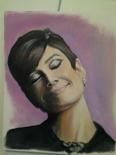 audrey hepburn oil painting painted by myself. sold