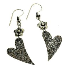 Purple Leopard Boutique - Embossed Floral Heart Earrings Antiqued Silver Plated Made In USA, $30.00 (http://www.purpleleopardboutique.com/embossed-floral-heart-earrings-antiqued-silver-plated-made-in-usa/)