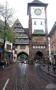 Freiburg clock tower, Baden-Württemberg, Germany