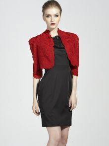 Red Half Sleeve Lace Crop Cape Outerwear