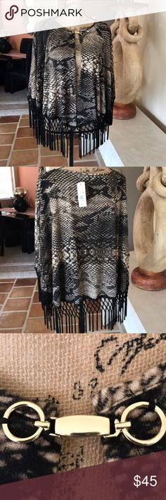 Reptile Print Shawl by Coco Bianco NWT Beautiful tan black and brown reptile printed Shawl with gold clasp front closure. Just right for fall nights. 94% Polyester 6% Spandex ❤️❤️ Coco Bianco Jackets & Coats Capes