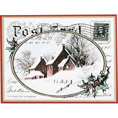 Stampendous Themes » Winter » Cling Snowy Postcard  Idea for snowy postcard stamp I have. This one seems slightly more doable.