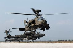 Into the pipe.. Five by Five - Apaches hover to take off.