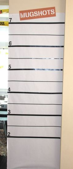 Mugshot backdrop idea for this Donut Thief themed birthday party. One of th… Mugshot backdrop idea for this Donut Thief themed birthday party. One of the most creative birthday party themes we've seen. Very cute ideas. Adult Halloween Party, Halloween Birthday, 3rd Birthday Parties, Halloween 2018, Halloween Costumes, Birthday Ideas, Birthday Bash, Birthday Crafts, Cake Birthday