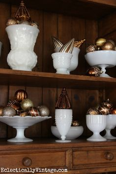 display milk glass collection | Vintage milk glass collection - fun way to display Christmas ornaments ...