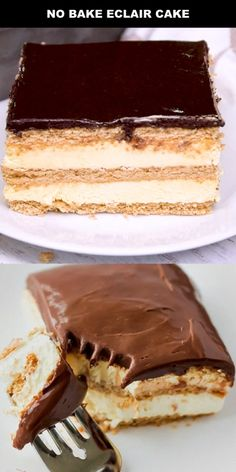 This easy eclair cake recipe tastes just like an éclair, only it's much easier to make. My favorite No Bake Eclair Cake, Eclair Cake Recipes, Chocolate Eclair Cake, Easy Cake Recipes, No Bake Cake, Sweet Recipes, Icebox Cake, Chocolate Ganache, Cake
