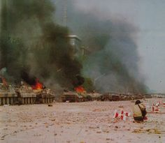 Tiananmen Square - During the few days of the counter-revolutionary revolt, the ruffians burned more than 60 armored personnel carriers belonging to the martial law troops.