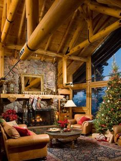 Montana Log Home Main Room. Love the wooden beams