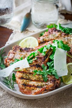 lemon rosemary pork chops with arugula salad - to make plaeo, just leave out the cheese