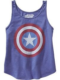 Girls Marvel™ Captain America Tanks