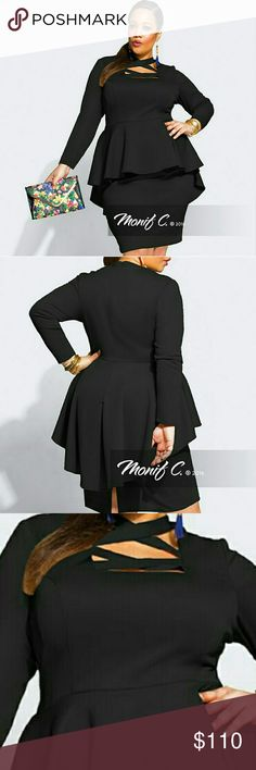 "Monifc C Talia Dress - Black New Never Worn ""Ensure all eyes are on your killer silhouette this season in the ?Talia? peplum dress. It features a unique crisscross neckline, structured peplum detail at the waist, and back split in a figure flattering scuba material. Team it with barely there heels for a chic evening look."" Monif C. Dresses Long Sleeve"