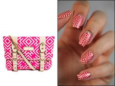 Fashion Friday - Inspired by a River Island bag #fashionfriday #didoline #didolinesnails #nails #stamping